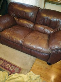 brown leather loveseat, soft and comfortable. Springfield, 65804