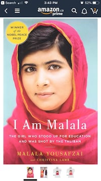 Book - I am Malala (paper missing from hardcover) Barrie, L4M 2E8