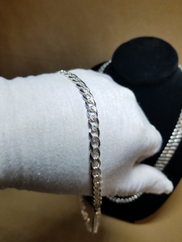 Cuban Curb Link Chain Diamond Cut Necklace .925 Sterling Silver 7mm 1