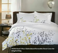 Reed 3 Piece  Embroidered  Reversible  Duvet Cover  King - Delivery  Oshawa, L1J 6A8