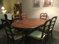 "Thomasville dining room set with six chairs and China closet. Table 62""x52"" with 2 18"" leaves China cabinet 84""x54x18. Excellent condition ! Spokane Valley, 99037"