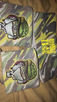 green-yellow-and-gray regret nothing. fear less, headband and wristband