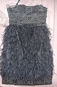 Sue Wong Ostrich feather strapless dress Sterling, 20166