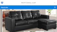 black leather tufted sectional sofa Great Neck, 11023