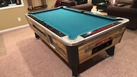 brown and green billiard table