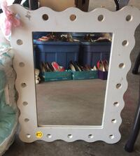 Wood mirror and matching tray