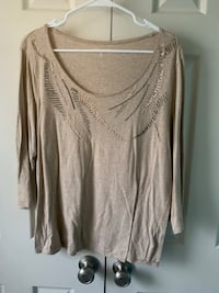 Tan scoop neck long sleeve shirt Woodbridge, 22193