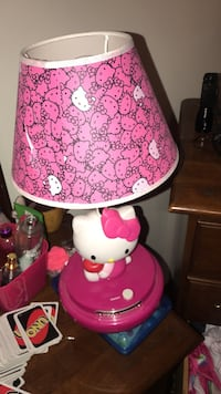 pink and white Hello Kitty table lamp