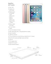 iPad Pro 128gbs. WiFi and cellular 2015. Comes with the leather smart case. Version is updated to 11.2.2