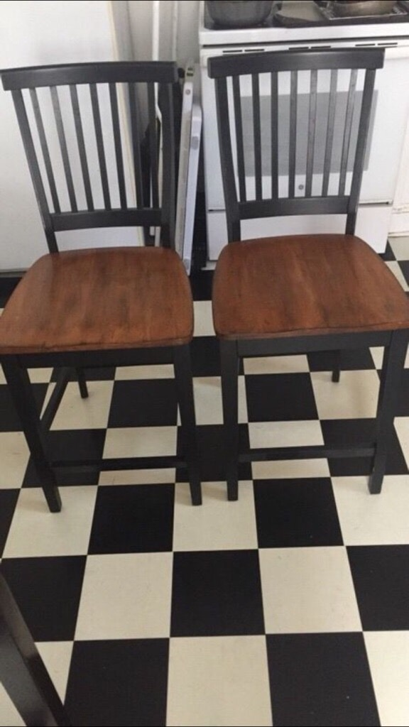 Used Two Brown And Black Wooden High Dining Chairs For Sale In Pleasant  Valley