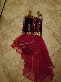 Girls maroon gold sequined danced dress size large Toms River, 08753