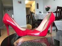 pair of pink patent leather platform stilettos Toronto, M4A