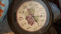 brown round wooden grapes print analog wall clock Cabot, 72023