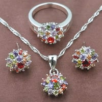 silver and pink floral necklace and earrings