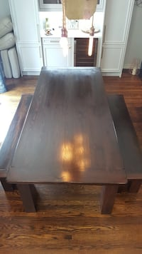 Real wood dining room table and benches  Toronto, M9B 3B2