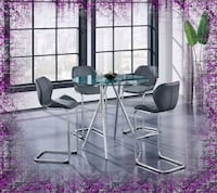 Counter Height Glass Dining Table New with Chairs