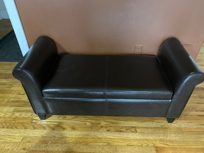 Sold Small Brown Leather Bench With