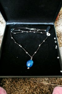 silver and blue gemstone pendant necklace Pasco, 99301