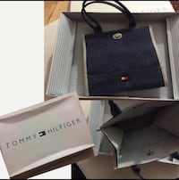 Blue and gray tommy hilfiger tote bag