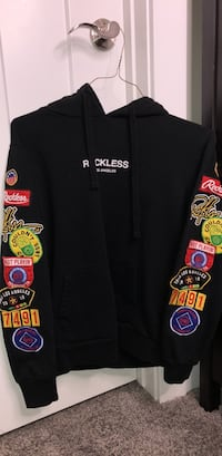 Reckless LA Hoodie in black with patched sleeves South Jordan, 84095