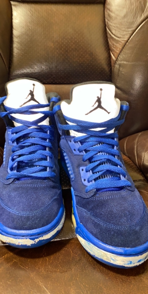 "Photo Air Jordan 5""s retro custom blue suede sz 10 (willing to trade)"