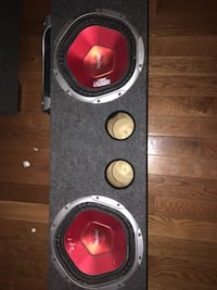 """2 10"""" sony subwoofers in box and a JBL amp"""