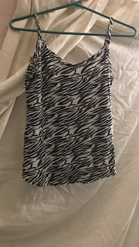 Black and white zebra print spaghetti strap top