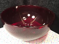Vintage Large Ruby Red Glass Bowl Punch Fruit Serving Valentines Excellent Edgewood, 21040