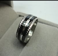 Silver and black rotatable stainless steel ring Chesapeake, 23321