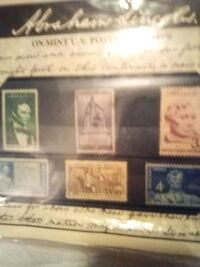 Postage stamps  6 Abraham Lincoln on mint us stamps