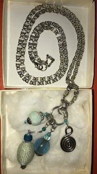 Silver and blue-colored necklace with earrings Orlando, 32806