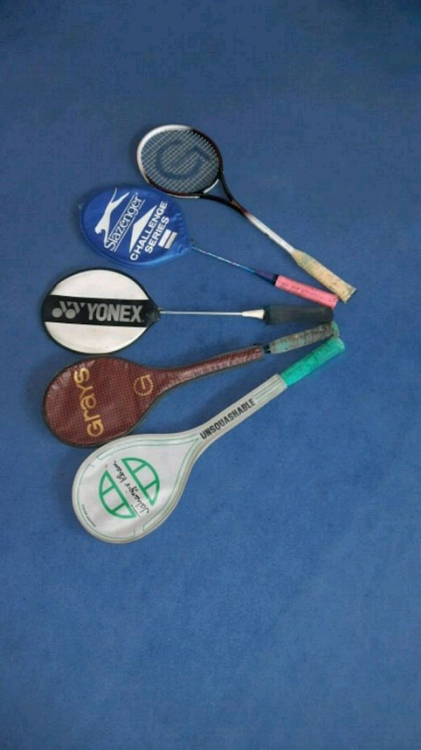 Various racquets.