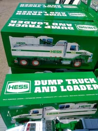 white Hess dump truck and loader toy boxes