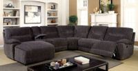 Zuben Chenille Grey Sectional with Recliner