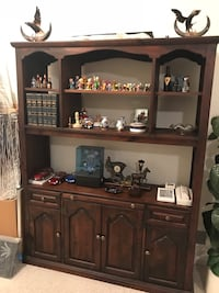 Brown wooden cabinet with hutch 14 km