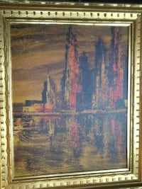 landmark building portrait painting with gold wooden frame Barco, 27917