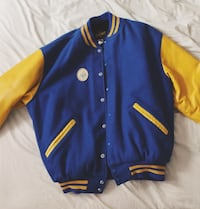 blue and yellow vintage letterman jacket Toronto, M6K 2Z2