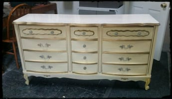French Provincial Off White Dresser