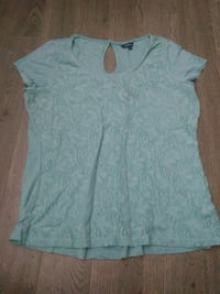 teal and gray floral scoop-neck keyhole back top Regina, S4S 4G2