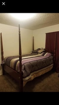 Solid cherrie wood queen bed including box spring mattresses Oklahoma City, 73170