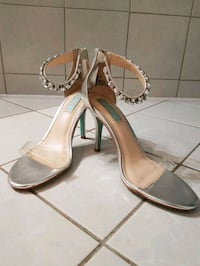 pair of gray leather open toe ankle strap pumps Mississauga, L5N 7L4
