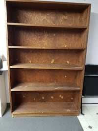 brown wooden 5-layered shelves
