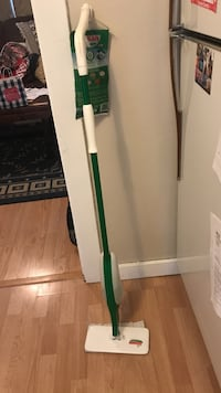 green and white mop