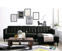 Black sectional sofa.