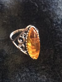 Authentic Baltic Amber ring set in silver filigree. Sent to me from Lithuania.     Hull, 02045