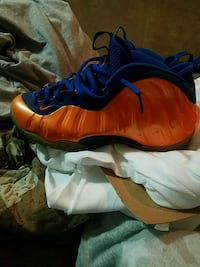 orange and blue Nike knicks foamposite