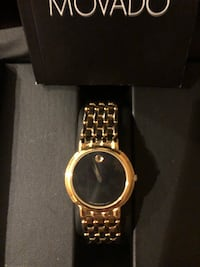 Pre owned gents movado men's  watch stainless steel gold tone authentic movado 18ct gold plated North Babylon, 11703