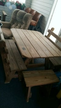 5 Piece Wooden Picnic Table and Benches Fullerton, 18052