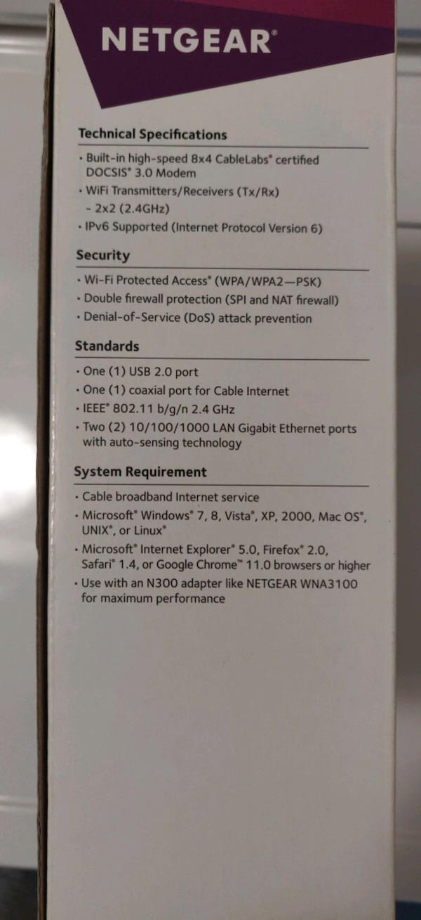 Used Netgear N300 WiFi cable modem routee for sale in