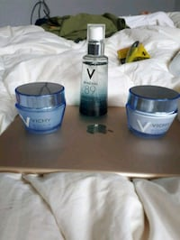two blue and gray containers
